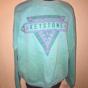 Jackets & Blazers - Vintage Turquoise Keystone Pullover Sweatshirt